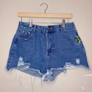 Shein Blue Whiskering PalmTree Distressed Shorts!